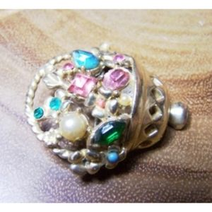Vintage Pastel Colored Rhinestone basket B…